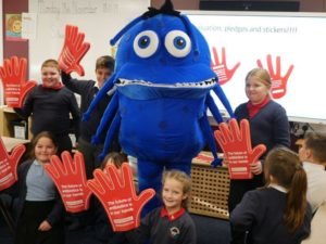 Doug the Bug with children from Stanningley Primary School